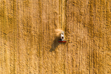 Aerial view at combine harvester