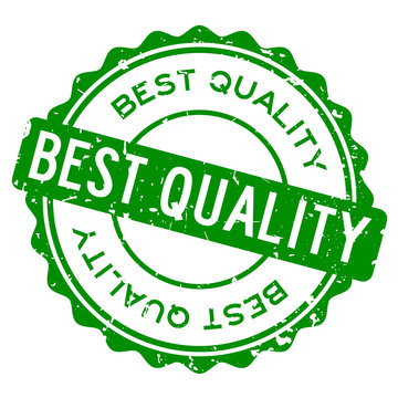 Grunge green best quality word round rubber seal stamp on white background