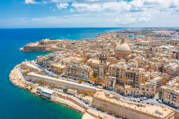 Obraz Aerial view of Lady of Mount Carmel church, St.Paul's Cathedral in Valletta city, Malta. - fototapety do salonu