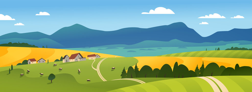 Vector flat landscape illustration of summer countryside nature view: sky, mountains, cozy village houses, cows, fields and meadows. For farm product packaging, sticker design, banner, flayer etc.