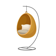 Chair-swing in the shape of an egg. Vector illustration on white background.