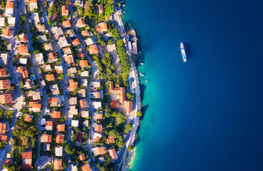 Poster Mediterraans Europa Dudrovnik, Croatia. Aerial view at the town. Vacation and adventure. Town and sea. Top view from drone at on the houses and azure sea. Travel - image