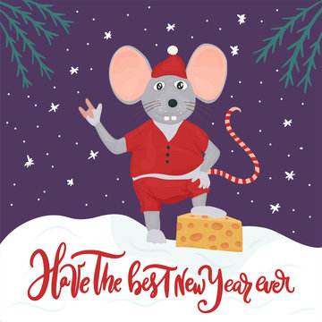 Christmas vector mouse. Cartoon illustration. Have the best New Year ever.