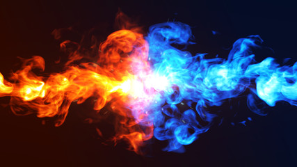 Fire and Ice concept design . 3d illustration.