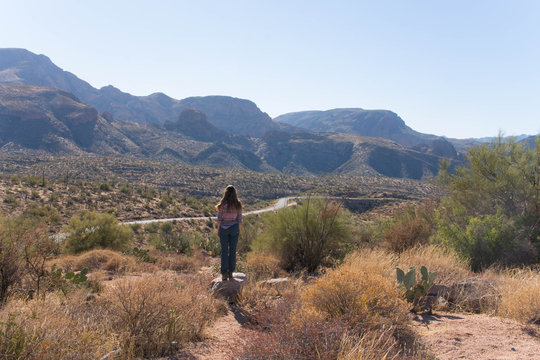woman overlooking view over the desert at apache trail america arizona