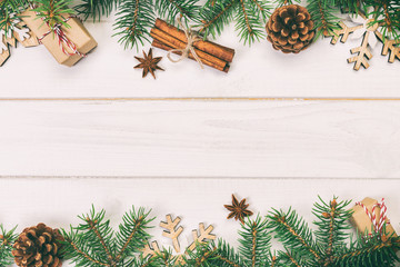 Wall Mural - Christmas background with copy space, top view. holiday concept for you design on wooden table. Toned