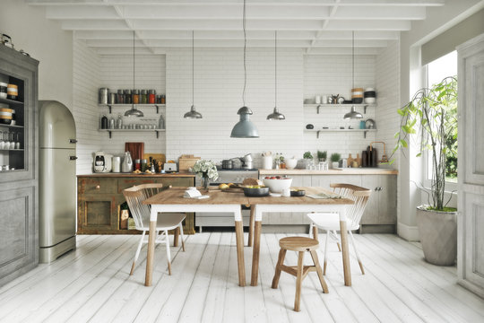 Scandinavian contemporary style kitchen with eating area and simplistic accents. 3d rendering