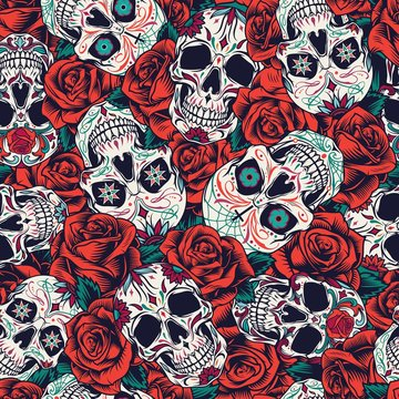 Vintage Day of Dead seamless pattern