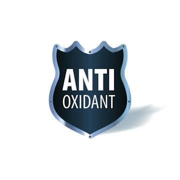 Shield symbol with the words Antioxidant, vector icon