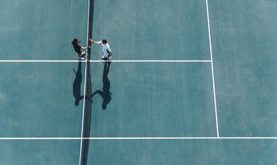 Fototapeta Professional tennis players handshakes after the match obraz