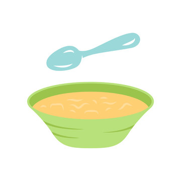 Soup flat design long shadow color icon. Bowl and spoon, kitchenware. Hot steaming soup plate. First meal. Healthy diet. Nutritious meal. Bistro, restaurant, cafe menu. Vector silhouette illustration