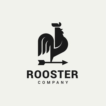 Rooster with Arrows logo vector in isolated white background