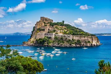 Aragonese Castle - Castello Aragonese on a beautiful summer day, Ischia island, Italy