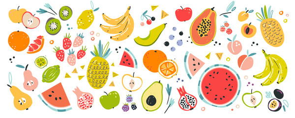 Papiers peints Cuisine Fruit collection in flat hand drawn style, illustrations set. Tropical fruit and graphic design elements. Ingredients color cliparts. Sketch style smoothie or juice ingredients.