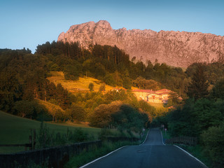Road to Zaloa village in Orozko with Itxina mountain