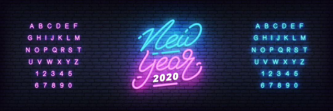 New Year 2020 neon design. New Year glowing neon lettering template