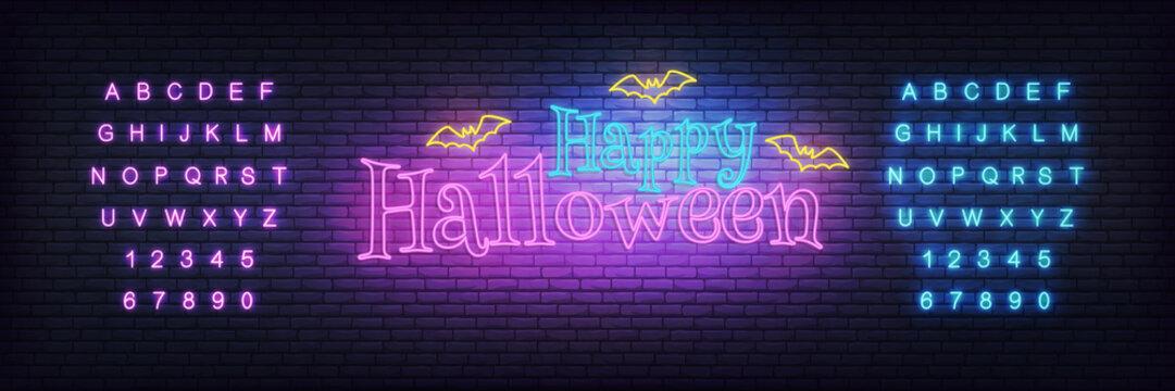 Halloween neon template. Glowing Halloween neon typography with flying bats