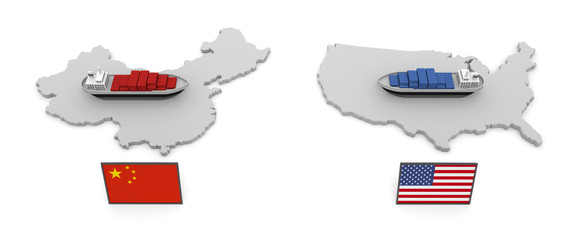 America China Trade Problem Tariff 3D illustration