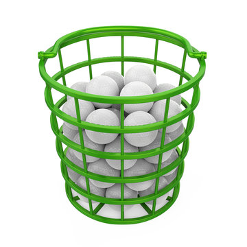 Golf Balls in a Basket Isolated