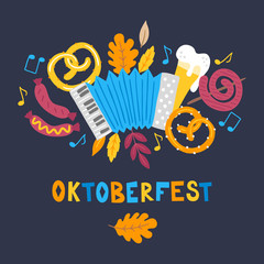 Oktoberfest greeting card with accordion, pretzel, beer, sausage, leaves, notes