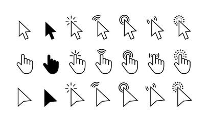 Computer mouse click cursor gray arrow icons set and loading icons. Cursor icon. Vector illustration. Mouse click cursor collection.
