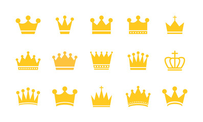 Big collection quolity crowns. Gold crown. Royal Crown icons collection set. Vintage crown. Vector illustration.