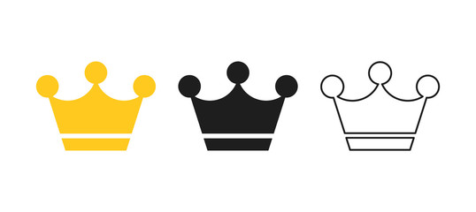Wall Mural - Big collection quolity crowns. Gold crown. Royal Crown icons collection set. Vintage crown. Vector illustration.