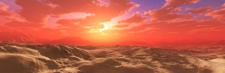 Poster Corail Desert at sunset, the sun in the clouds over the desert, 3D rendering