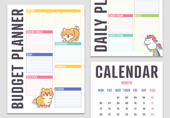 Planner with Sticker-style Illustrations