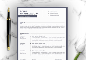 Resume Layout Set with Black Border