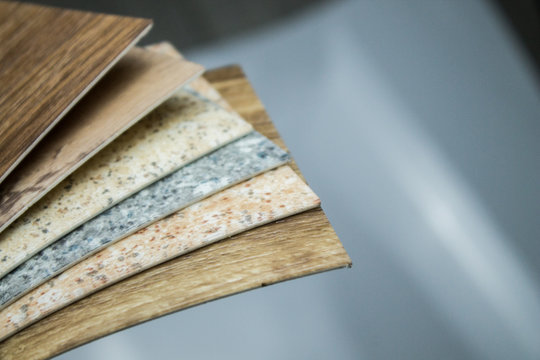Samples of office linoleum on an isolated background