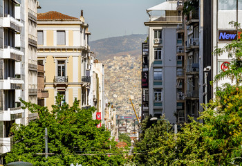 View from the height of the houses and roofs of the old city of Athens in Greece.