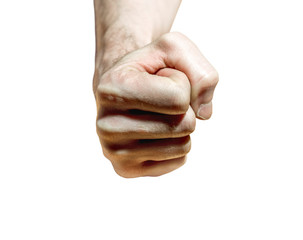 Male hand clenched in fist  on white background