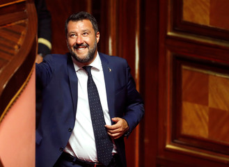 Deputy Prime Minister Salvini smiles as Italy's government is set to face Senate confidence vote on security and immigration decree in Rome