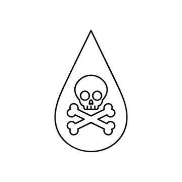 Liquid drop with skull and crossbones linear icon. ector isolated outline drawing