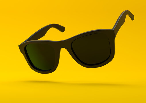 Black summer sunglasses falling down on a pastel bright yellow background. Side view. Creative minimal concept. 3d rendering illustration