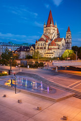 Vienna, Austria. Cityscape image of Vienna capital city of Austria with St. Francis of Assisi Church during twilight blue hour.