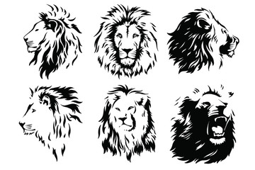 Lion Head Logo Vector Template Illustration Graphic Design