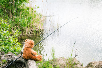 Teddy bear fisherman. Brown teddy bear sits by the lake with a fishing rod and catches fish.