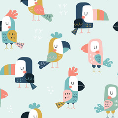 Seamless childish pattern with cute parrots and toucans. Scandinavian style kids texture for fabric, wrapping, textile, wallpaper, apparel. Vector flat funny illustration.