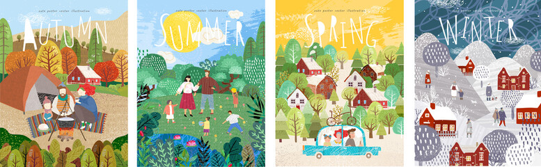 4 seasons: Autumn, winter, spring, summer. Vector cute illustration of a family on nature in the camp, traveling by car, and people on the street for the New Year and Christmas Fototapete