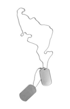 Blank military ID tags isolated on white
