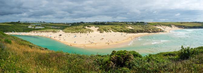 Fototapete - Gannel estuary and Crantock Beach