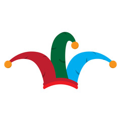 Isolated colored jester hat on a white background - Vector