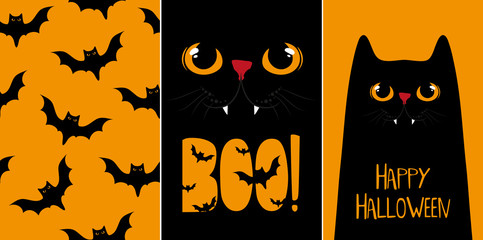 Halloween cards set, vector illustrations with black cat.