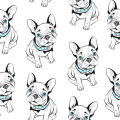 French bulldog seamless pattern on white background. Vector illustration. Hand drawn funny dogs with blue eyes.