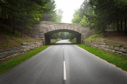 Middle of the Road Historic Stone Bridge in Acadia National Park