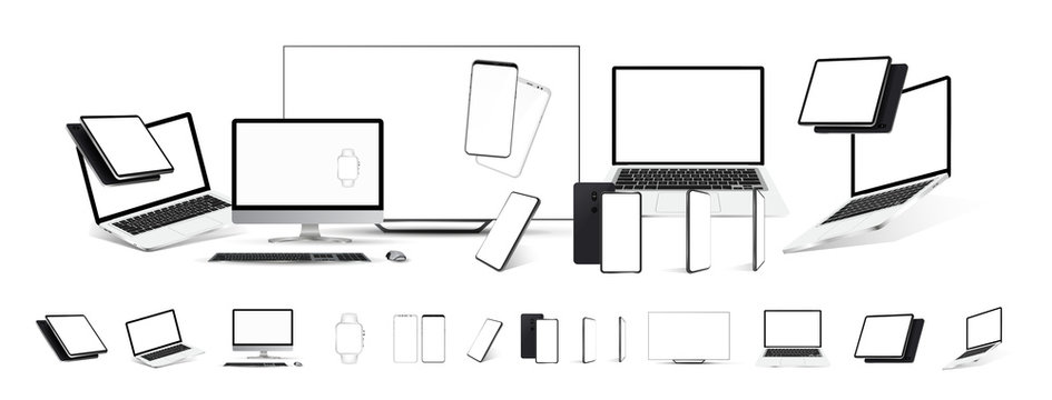 Mockups gadgets vector set. 3D realistic models technology device and electronics (tablet, tv, laptop,mobile cell phone, smartphones, pc monitor) Gadgets from different angles, perspective, isometric