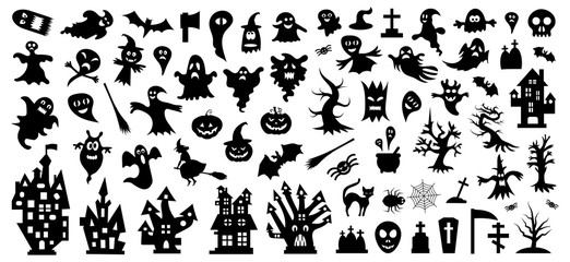 Set of silhouettes of Halloween on a white background. Vector illustration.Печать