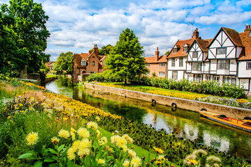 Canterbury, Kent, UK: Landscape of the Great Stour river running through old timbered houses near Westgate Gardens. Wall mural